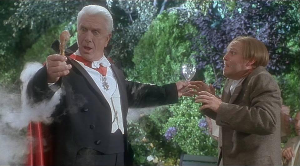 """Dracula: Dead and Loving It (Dacula: Morto Mas Contente!, 1995) de Mel Brooks. O Conde Drácula tem um """"daymare"""" em que passeia alegre no parque, julgando que o sol já não lhe fará mal..."""