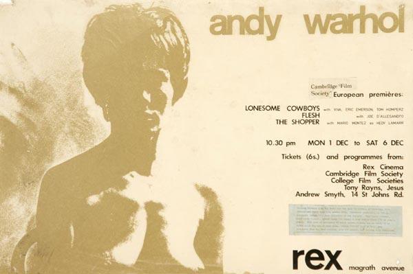 Programa da mini retrospectiva Warhol em que Ernesto de Sousa participa em 1969 (imagem do seu espólio)