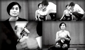 Yoko Ono in Cut Piece 1964